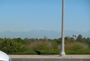 Snowy peak of the San Jacintos from the coast