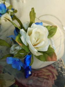 Grandma's corsage.  A rose with crystal bed, rosebud, and hydrangeas.